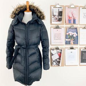 Gap Long Belted Puffer Coat Medium Parka Faux Fur